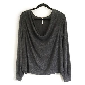 🌼Free People Scoop Neck Top Dark Grey Size M